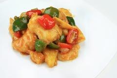 Pesce fritto, salsa agrodolce Immagini Stock Libere da Diritti
