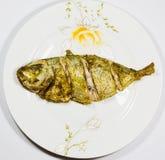 Pesce fritto sul piatto Immagini Stock Libere da Diritti