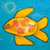 Pesce giallo, dipingente Fotografia Stock Libera da Diritti