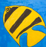 pesce Giallo-nero, dipingente Fotografia Stock Libera da Diritti