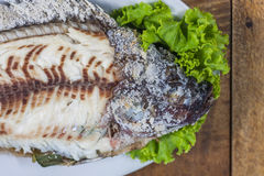 Pesce grigliato Crusted sale Fotografia Stock Libera da Diritti