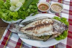 Pesce grigliato Crusted sale Immagini Stock Libere da Diritti