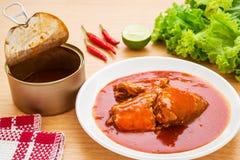 Pesce inscatolato in salsa al pomodoro sul piatto Immagini Stock