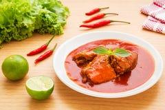 Pesce inscatolato in salsa al pomodoro sul piatto fotografia stock libera da diritti