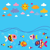 Pesce, mare, nuvole, fondo di estate del sole Fotografia Stock