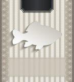 Pesce naturale della carta 3D del pizzo del ristorante del menu Immagine Stock Libera da Diritti