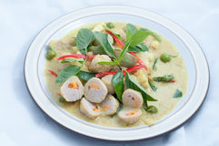 Pesce-palla in padella con curry verde fotografia stock libera da diritti