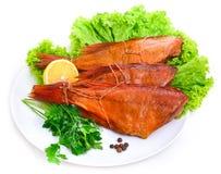 Pesce persico del pesce affumicato delizioso immagini stock libere da diritti