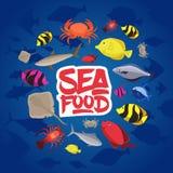 Pesce piano, granchio ed aragosta di progettazione stabilita dei frutti di mare Illustrazione di vettore Immagine Stock