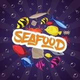 Pesce piano, granchio ed aragosta di progettazione stabilita dei frutti di mare Illustrazione di vettore Fotografia Stock Libera da Diritti