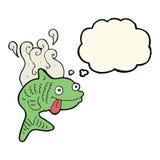 pesce puzzolente del fumetto con la bolla di pensiero Fotografia Stock