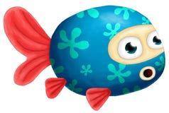 Pesce rosso digitale di verniciatura blu Fotografie Stock