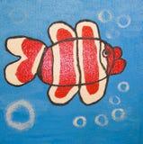 Pesce rosso, dipingente Immagine Stock