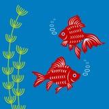 Pesce rosso e piante acquatiche royalty illustrazione gratis