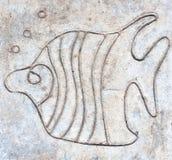 Pesce scolpito sul pavimento del cemento Immagine Stock