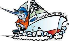 Pesce spada che guida una barca Immagini Stock Libere da Diritti