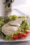 Pesce spada - Swordfish. Grilled swordfish with tomatoes and salad Royalty Free Stock Photos