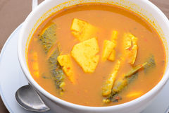 Pesce tailandese di nome dell'alimento e minestra acida fritta del tiro della noce di cocco Fotografia Stock