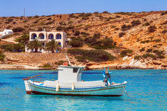 20 06 2016 - Pescherecci al porto di Agios Georgios, isola di Iraklia Fotografia Stock Libera da Diritti