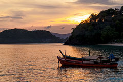 Pescherecci al tramonto su Pan Wa Immagini Stock