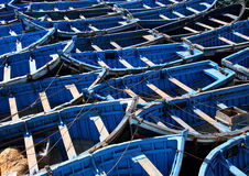 Pescherecci blu al essaouira Fotografie Stock Libere da Diritti