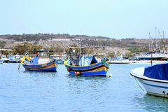 Pescherecci maltesi, Marsaxlokk, Malta fotografia stock