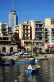 Baia della st Julians, Malta Fotografia Stock