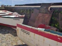 Pescherecci nel porto di Povoacao, sul sao Miguel dell'isola, le Azzorre Fotografia Stock Libera da Diritti