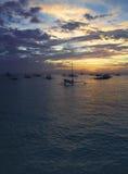 Pescherecci nel tramonto immagine stock libera da diritti