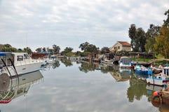 Pescherecci su un fiume nel Cipro Fotografia Stock Libera da Diritti