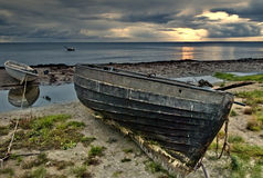 Pescherecci sulla spiaggia del Mar Baltico, Latvia Immagini Stock Libere da Diritti