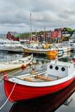 Pescherecci in Torshavn, isole faroe fotografie stock