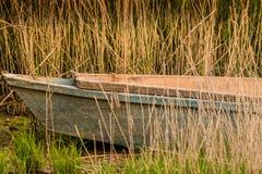 Peschereccio abbandonato che si siede in canne alte Fotografie Stock