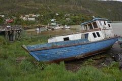 Peschereccio in Tortel, Patagonia, Cile Immagine Stock Libera da Diritti