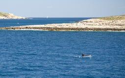 Peschereccio vicino all'isola di Comino, mar Mediterraneo, Malta immagini stock