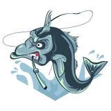 Peschi il ilustration e morda una canna da pesca, pesce arrabbiato del ` s con bacground bianco Fotografia Stock Libera da Diritti