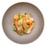 Peschi la tempura in piatto grigio della porcellana isolato su bianco Immagine Stock Libera da Diritti
