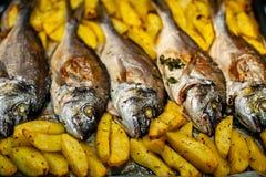 Peschi lo sparus aurata per cuocere con le patate ed i verdi Fotografia Stock Libera da Diritti