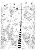 Peschi, pesce grafico ornamentale, la linea floreale modello Vettore Zentangle illustrazione di stock