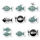 Peschi, pesce sul piatto, icone di scheletro Fotografia Stock Libera da Diritti