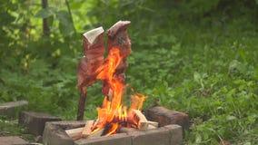 Peschi su un fuoco aperto il piano generale stock footage