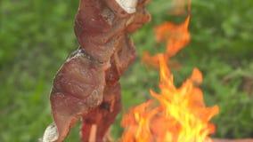 Peschi su un fuoco aperto la fine su stock footage