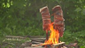 Peschi su un fuoco aperto la vista frontale stock footage