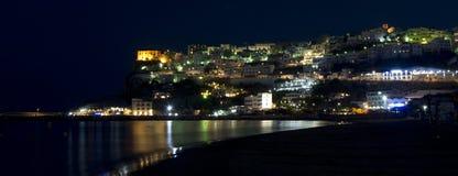 Peschici udde på natten med reflexioner Fotografering för Bildbyråer
