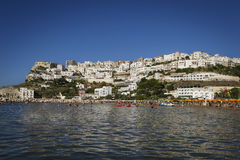 Peschici viewed from the water.  Royalty Free Stock Photography
