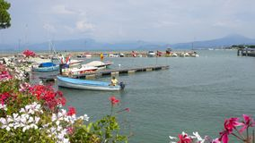 Peschiera del Garda, Italy. Views of the harbour of the village. Garda Lake. It`s one of the most famous Italian resort stock photos