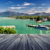 Peschiera del Garda. Peschiera on Garda Lake in Italy with wooden floor Royalty Free Stock Photos