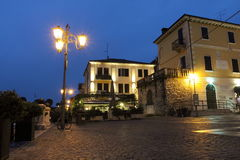 Hotels near to canal in Peschiera del Garda. Peschiera del Garda (Latin: Ardelica, Arilica and Ariolica), is a town and comune in the province of Verona, in Royalty Free Stock Image