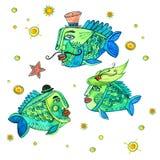 Pesci Aristocrates/illustrazione dell'acquerello fotografia stock