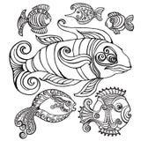 Pesci astratti nello stile decorativo Fotografia Stock